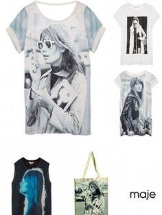 www.elle.be :Dès le mois de septembre, des photos de la belle Françoise Hardy orneront les t-shirts de la nouvelle collection capsule de Maje.