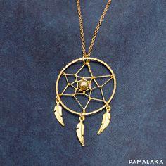 Collier long petit Dreamcatcher - Attrape rêve laiton or – PAMALAKA - Créateur de bijoux boho chic