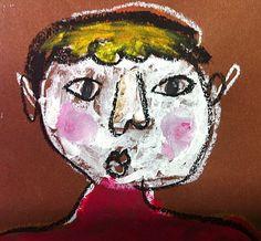 Autoportrait craie grasse et gouache