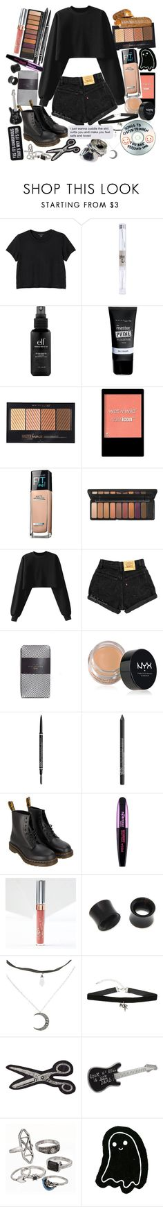"""You wrote 100 letters just for me, and I find them in my closet in the pockets of my jeans"" by thelyricsmatter ❤ liked on Polyvore featuring Monki, e.l.f., Maybelline, Wet n Wild, Zara, NYX, Dr. Martens, L'Oréal Paris, NOVICA and Hot Topic"