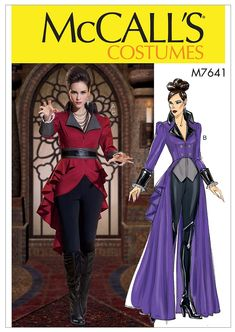 Vintage Sewing Patterns McCall's 7641 Sewing Pattern Misses' Carnival Cosplay Costume Jacket Coat Mccalls Sewing Patterns, Vintage Sewing Patterns, Viktorianischer Steampunk, Steampunk Costume, Cosplay Dress, Contrast Collar, Halloween Disfraces, Love Sewing, Sewing Projects For Beginners