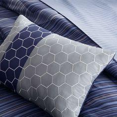 Queen Size 9-Piece Elegant Comforter Set with Dark Blue Hexagon Pattern