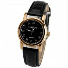 $10.08 Luckyfamily Women Mechanical Watch 12 Roman Numbers Indicate Round Dial with Leather Watch Band - Black