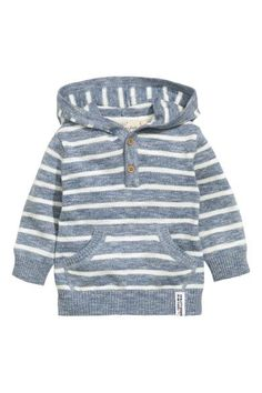 Hooded cotton jumper: Fine-knit hooded jumper in soft cotton with a button placket kangaroo pocket at the front and ribbing at the cuffs and hem. - May 04 2019 at Fashion Kids, Little Boy Fashion, Baby Boy Fashion, Baby Outfits, Kids Outfits, Knitting Patterns Boys, Baby Boy Tops, Pull Bebe, Cotton Jumper