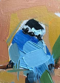 Racket Tailed Roller no. 4 Original Bird Oil Painting by Angela Moulton ACEO Art #Impressionism