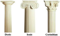 these are the three types of basic ancient greek architecture and show different types of columns that were used to make temples.