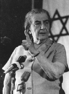 This photo is of the first female president of Israel, Golda Meir. .
