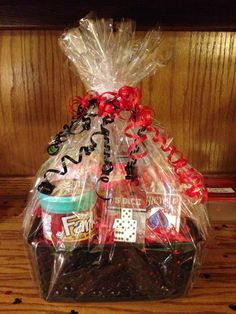 Game prize basket for 30th birthday casino party