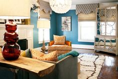 Another inspiration room. Orange or yellow/gold make great accent colors.