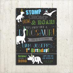 Dinosaur Birthday Invitation, Boys Dino Birthday Invite, Stomp Chomp Growl & Roar, Party like a Dinosaur Invitation