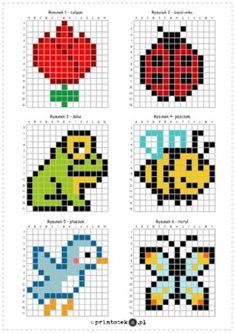 Bobble Crochet, Crochet Square Blanket, Loom Patterns, Cross Stitch Patterns, Crochet Patterns, Pixel Art, Kids Activities At Home, 3rd Grade Art, Little Cotton Rabbits