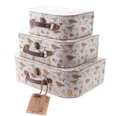 Sass & Belle Set of 3 Vintage Style Bird Cardboard Suitcases