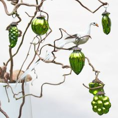 6 Small Lime Green Baubles