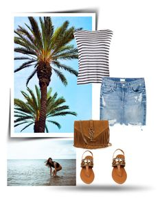 """Denim skirt"" by gabriela2105 ❤ liked on Polyvore featuring T By Alexander Wang, Mother and Yves Saint Laurent"