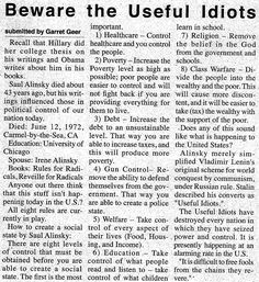 8 easy steps to creating a Social State, by Saul Alinsky. Beware the Useful Idiots...