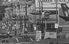 Signs Jungle on Burrard Bridge. September 1967 file photo of view from six blocks north of Burrard Bridge.  Dan Scott / The Vancouver Sun