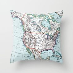 Map Pillow - North American map - bold, colorful, beautiful, Canada, United States,   unique, retro, blue and white by Mapology on Etsy