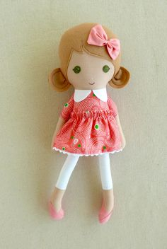 Fabric Doll Rag Doll Light Brown Haired Girl in Dotted Coral Swirl Print Dress
