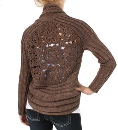 Romeo & Juliet Couture Hand Knit Cardigan Wrap in Brown