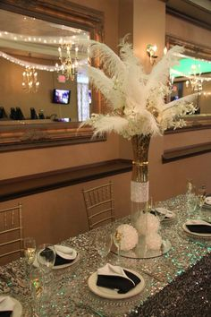 What fun in bringing in a team of professionals and create a few ideas to showcase Main Stream Events and PR Firm had a vision for Great Gatsby. Renaissance Banquet Hall was the venue we chose for our inspiration. Pull Up A Chair Party Rentals brought in their linens, chairs, Floral Gallery Inc. brought in two floral arrangements and we created several more by taking a few of the items out Picture-me-Photography was our photographer www.yourmainstream.com