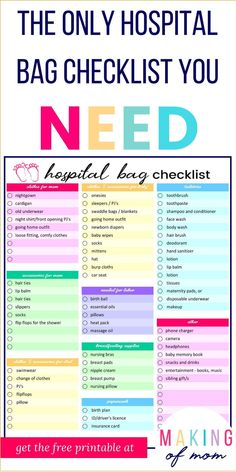 The Only Hospital Bag Checklist You'll Need (Plus Free Printable!) The Only Hospital Bag Checklist You'll Need (Plus Free Printable!),Labor and Delivery Tips Are you ready for your baby's birth? Here's a hospital bag. Hospital Checklist, Hospital Bag For Mom To Be, Hospital Bag For Birth, Hospital Bag For Delivery, Baby Delivery, Hospital Bag List, Packing Hospital Bag, Newborn Diapers, Newborn Care