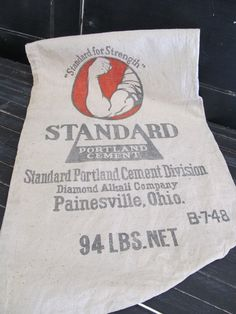 Vintage Industrial Cement Sack, Standard Cement Sack, Commercial Cement Sack, Vintage Linen Sack, Canvas by LeIndustrielle on Etsy