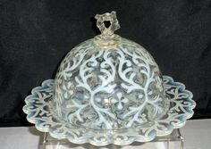 Northwood Glass 1890's Spanish Lace Opalescent Butter Dish