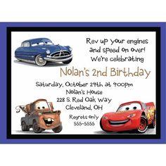 cars bday | Cars Crew Birthday Invitation-Doc Hudson, Lightening McQueen, Mater ... 3rd Birthday Party For Boy, Little Man Birthday, Cars Birthday Parties, Birthday Ideas, Cars Birthday Invitations, Disney Cars Party, Race Car Party, Lightening Mcqueen, Logan