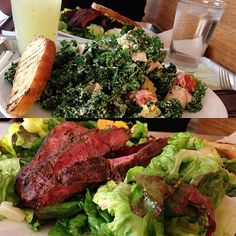 @pham_bam: Tender Greens, Pasadena.chicken cobb kale salad and a back yard steak salad. Mmmm mint lemonade. Worked out and good food. What a productive Saturday