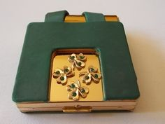 Paul Flato Shamrock  Art Deco Compact Lipstick Holder-Green Stones