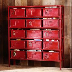 """Rockwell 15-Drawer Bookcase   PBteen54.5"""" wide x 15.5"""" deep x 60"""" high $1299"""