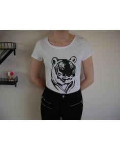 T-shirt blanc Majestic tête de tigre - 100% Coton bio - Femme