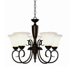 Portfolio Lillyburne 5-Light Oil Rubbed Bronze Chandelier Want a pendant light w similar shaped shade