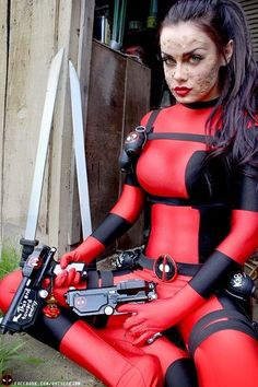 Lady Deadpool Cosplayer: Shiveeejam. I love her face make-up!! Everyone leaves out Deadpool's scarring!