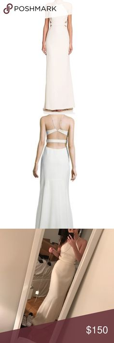Halston Heritage Gown New never been worn! Halston heritage cut out gown! The color is not a white white. It's called bone on the tag. It's a really beautiful white/ivory tone. Halston Heritage Dresses Maxi
