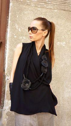 NUOVA collezione corda nera stravagante vera pelle Rose di Aakasha: