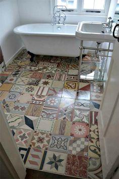 Reclaimed Encaustic Floor Tiles by The Reclaimed Tile Company Patchwork Kitchen, Patchwork Tiles, Bad Inspiration, Bathroom Inspiration, Home Design, Interior Design, Modern Interior, Encaustic Tile, Bathroom Flooring