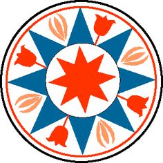 Eight Pointed Star ~ is a fairly common hex design that's usually blue and symbolizes goodwill. The tulips represent faith and trust in man and the sheaves of wheat symbolize abundance. This design was often used to decorate large buildings and it proclaims abundance and goodwill for all.