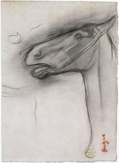 Edgar Degas - Head of a Horse Graphite on paper 16.7 x 12.1 cm MMA