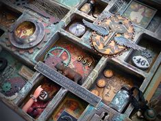 Art configurations tray by Jack Cat Curio configurations Altered Boxes, Altered Art, Printers Drawer, Found Object Art, Diy Resin Crafts, Frame Crafts, Assemblage Art, Scrapbook Paper Crafts, Scrapbooking