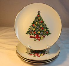 Jamestown China 4 Salad Plates 7 3/4 in Christmas Treasure Tree Excellent & 4 Precidio Melamine 11\