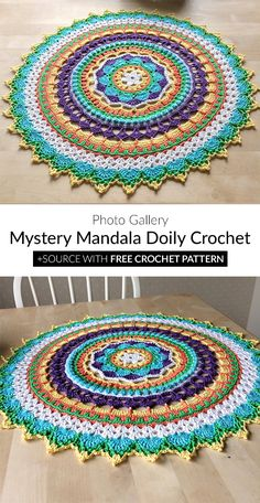 Mystery Mandala Doily Crochet Crochet Rug Patterns, Crochet Mandala Pattern, Crochet Circles, Granny Square Crochet Pattern, Crochet Carpet, Crochet Home, Crochet Crafts, Crochet Projects, Free Crochet
