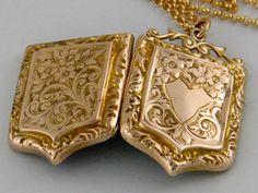 9K Antique Gold Locket 1890 Victorian Rose Gold by AntiqueLockets, $500.00