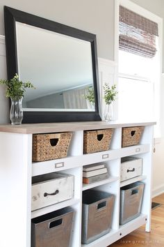 A simple storage credenza turns into functional entryway storage AND a dining room buffet. See more photos and small space storage solutions at LoveGrowsWild.com