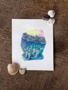 A Bloom Below the Waves. 8x10 Jellyfish Watercolor. Pacific northwest sea life fine art by SaylorMade on Etsy https://www.etsy.com/ca/listing/452057720/a-bloom-below-the-waves-8x10-jellyfish