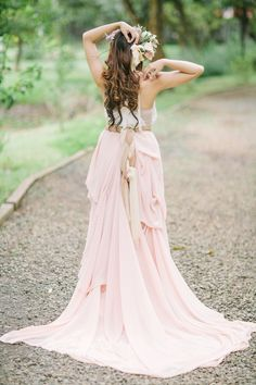Blush pink wedding dress #wedding #dress #inspiration #details #blushpink #pink #garden