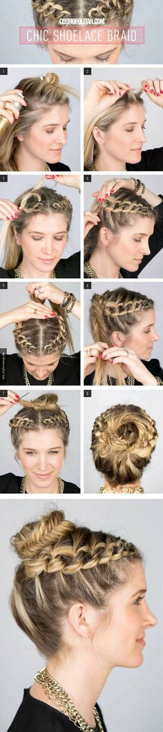 How-To: Chic Shoelace Braid How To Create A Shoelace Braid Updo. maybe just do it on one side and not part in the middle?How To Create A Shoelace Braid Updo. maybe just do it on one side and not part in the middle? Braided Crown Hairstyles, Diy Hairstyles, Pretty Hairstyles, Hairstyle Tutorials, Wedding Hairstyles, Hairstyle Ideas, Braided Updo, Fishtail Bun, Updo Hairstyle