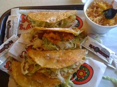 Tacos and Spanish Rice on the side.