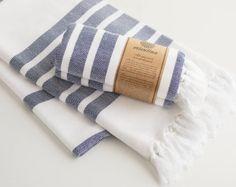 Navy Blue Striped Pure Cotton Peshtemal Turkish Towel aka Fouta for Bath & Beach from Istanbul Boutique Shop