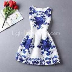 Robes ( Coton mélangé/Polyester ) Informel/Imprimé/Mignon/Soirée Rond à Sans manche pour Femme - USD $13.99